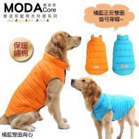 ~摩達客寵物系列~寵物衣~中大狗橘藍雙面保暖 背心 可雙面穿 反光條 狗狗衣服黃金拉拉哈士