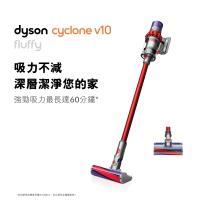 【原廠登錄送專用收納架】Dyson戴森 Cyclone V10 Fluffy 無線吸塵器(SV12紅色)-庫