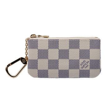 LV 時尚優雅白色棋盤格圖紋鍊鑰匙/零錢包