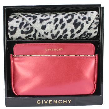 GIVENCHY日本限定化妝包+豹紋方巾組禮盒