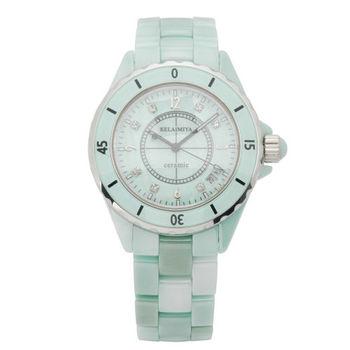 克萊米亞芙蓉翡翠陶瓷腕錶/大