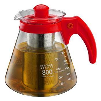 Tiamo_耐熱玻璃附濾網 茶/咖啡兩用壺800cc-HG2217