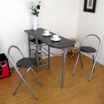 【頂堅】高級鋼管三層-吧台桌椅組/餐桌椅組(1桌2椅)-深胡桃木色