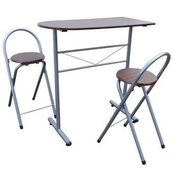 【頂堅】高級鋼管-餐桌椅組(1桌2椅)-深胡桃木色