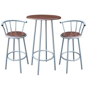 【頂堅】高級鋼管-餐桌椅組/洽談桌椅組(1桌2椅)-深胡桃木色