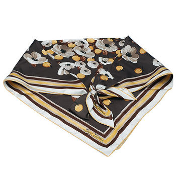 LV MP0827 藝術花卉質感絲綢蝴蝶結裝飾三角巾