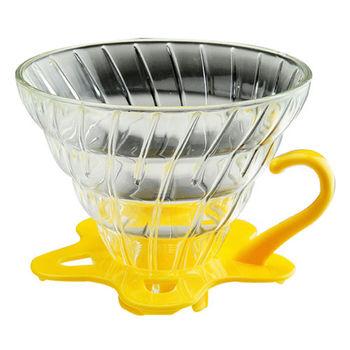 TIAMO V02 耐熱玻璃咖啡濾杯附咖啡匙+滴水盤