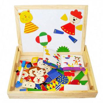 兒童兩用磁性積木畫板(動物世界)