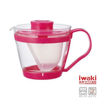 【iwaki】新款玻璃微波茶壺 400ml(桃粉)
