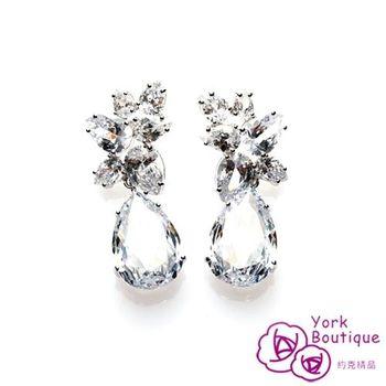 【約克精品】繽紛晶鑽方晶鋯石包銠白金夾式耳環(SGS認證)