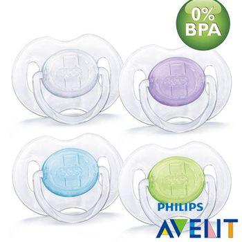 任-PHILIPS AVENT 無雙酚A水晶矽膠安撫奶嘴(0-6M)(顏色隨機)