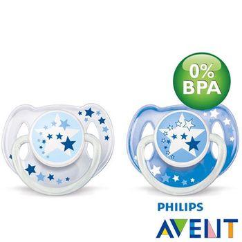 任-PHILIPS AVENT 無雙酚A水晶矽膠安撫奶嘴(夜光6M+)顏色隨機