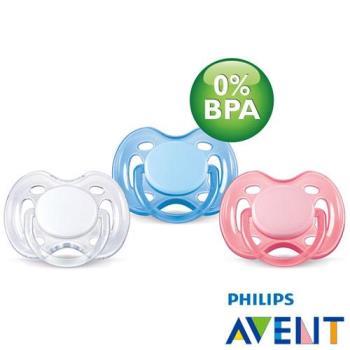 任-PHILIPS AVENT 無雙酚A粉彩系列矽膠安撫奶嘴(0-6M)顏色隨機