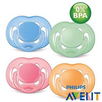 任-PHILIPS AVENT 無雙酚A粉彩系列矽膠安撫奶嘴(6M+)顏色隨機