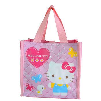 Hello Kitty愛心蝴蝶便當餐袋-粉紅