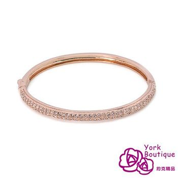 【約克精品】時尚玫瑰施華洛元素晶鑽包18K玫瑰金手環(SGS認證)
