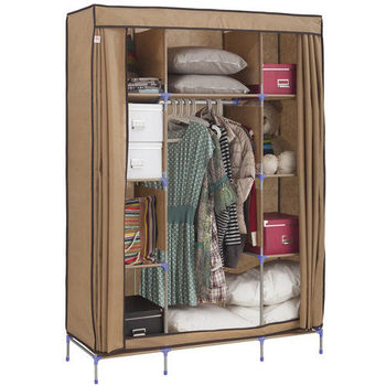 免工具 125公分寬-三層八格(不織布)吊衣架/吊衣櫥(含彩色布套)-4色可選