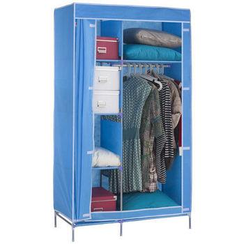 免工具 95公分寬-三層四格(不織布)吊衣架/吊衣櫥(附彩色布套)-4色可選