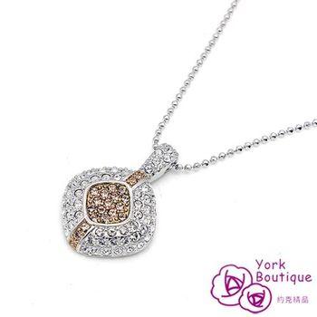 【約克精品】皇家首選施華洛世奇元素晶鑽包銠白金項鍊(SGS認證)