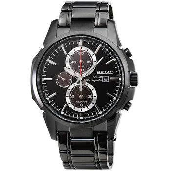 SEIKO精工大錶徑光動能三眼鬧鈴計時錶-IP黑 / SSC095P1