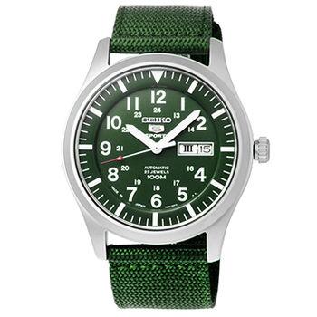 SEIKO 精工三代野戰機械帆布錶-軍綠 / SNZG09J1