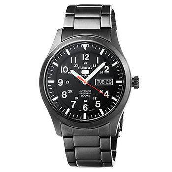 SEIKO 精工三代野戰機械鋼帶錶-IP黑 / SNZG17J1