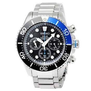 SEIKO精工光動能DIVERS計時潛水錶-黑藍 / SSC017P1