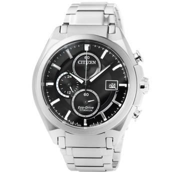 CITIZEN星辰ECO-DRIVE鈦金屬計時錶-黑 / CA0351-59E