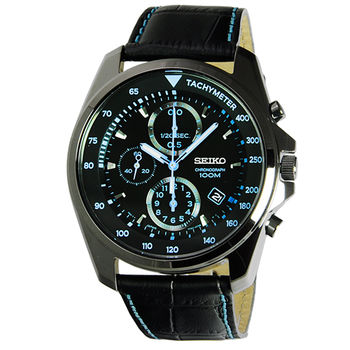 SEIKO精工三眼計時皮帶錶-IP黑藍 / SNDD71P1