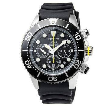 SEIKO精工光動能DIVERS計時膠帶潛水錶-黑 / SSC021P1
