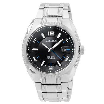 CITIZEN星辰 ECO-DRIVE鈦金屬時尚錶-黑 / BM6901-55E