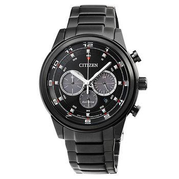 CITIZEN星辰 ECO-DRIVE黑暗騎士計時錶-黑 / CA4035-57E
