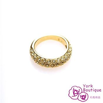 【約克精品】無敵天后施華洛元素晶鑽包22黃K金戒指(SGS認證)