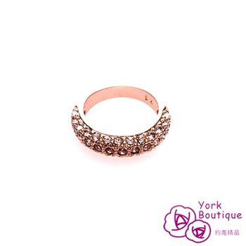 【約克精品】無敵天后施華洛元素晶鑽包18K玫瑰金戒指(SGS認證)