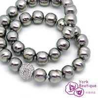~約克 ~變型黑琉璃珍珠施華洛世奇元素晶鑽包銠金項鍊 ^#40 SGS ^#41