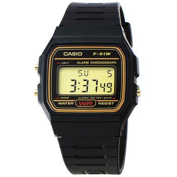 CASIO 卡西歐鬧鈴電子錶-黑 / F-91W-9Q