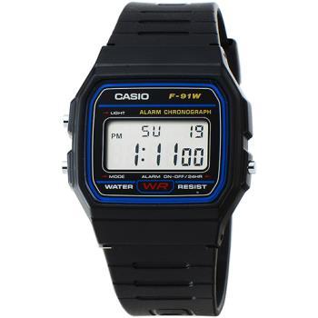 CASIO 卡西歐鬧鈴電子錶-黑 / F-91W-1D