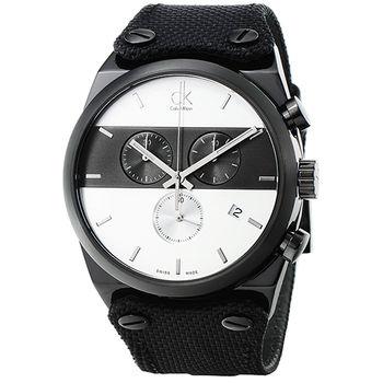 Calvin Klein Eager 三眼計時錶-IP黑/ K4B374B6