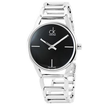 Calvin Klein Stately時尚鏤空手環錶-黑 / K3G23121