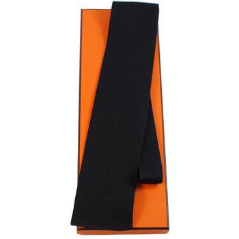 HERMES 時尚配件素雅領帶(黑)