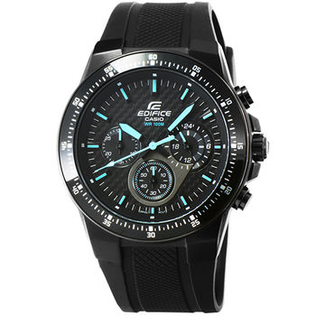 CASIO 卡西歐EDIFICE 賽車膠帶錶-黑 / EF-552PB-1A2