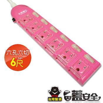 【太星電工】蓋安全彩色電腦線六開六插(3P15A6尺)橙/紅/綠 OC66306