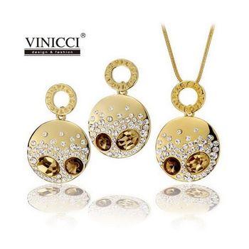 VINICCI「巴黎香頌」水晶項鍊耳環套組