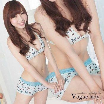 【Vogue Lady】蕾絲平口蝴蝶系列(藍蕾絲)