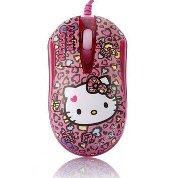 Hello Kitty晶彩LED閃動光學滑鼠-摩登粉
