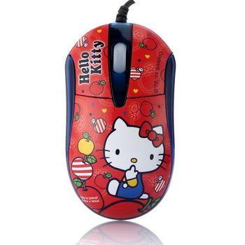 Hello Kitty晶彩LED閃動光學滑鼠-蘋果