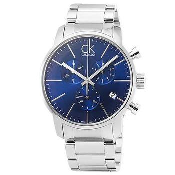 CK Calvin Klein City三眼計時鋼帶錶-藍 / K2G2714N