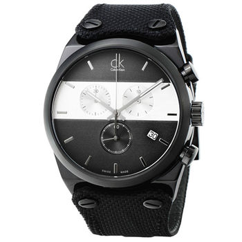 CK Calvin Klein Eager計時皮帶錶-黑 / K4B374B3