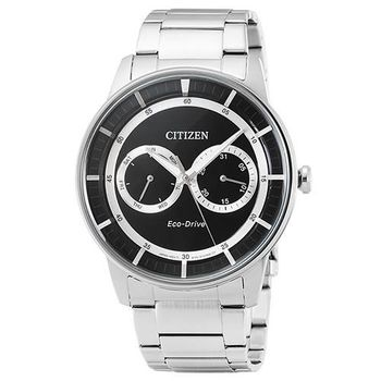 CITIZEN星辰 光動能鋼帶錶-黑 / BU4000-50E