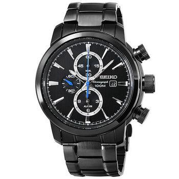 SEIKO 精工大錶徑三眼計時錶-IP黑 / SNAF49P1